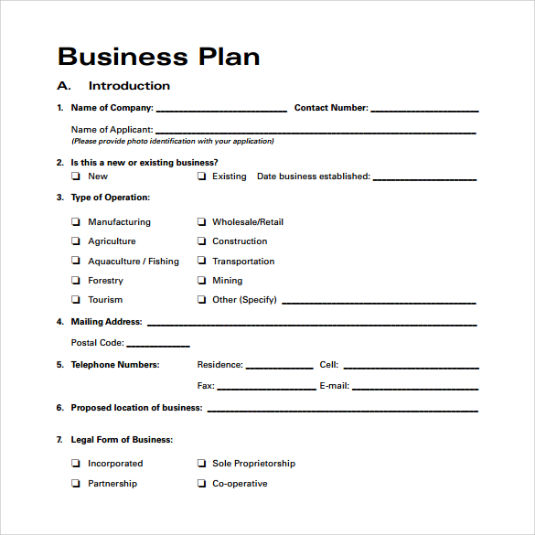 business plan template free download pdf