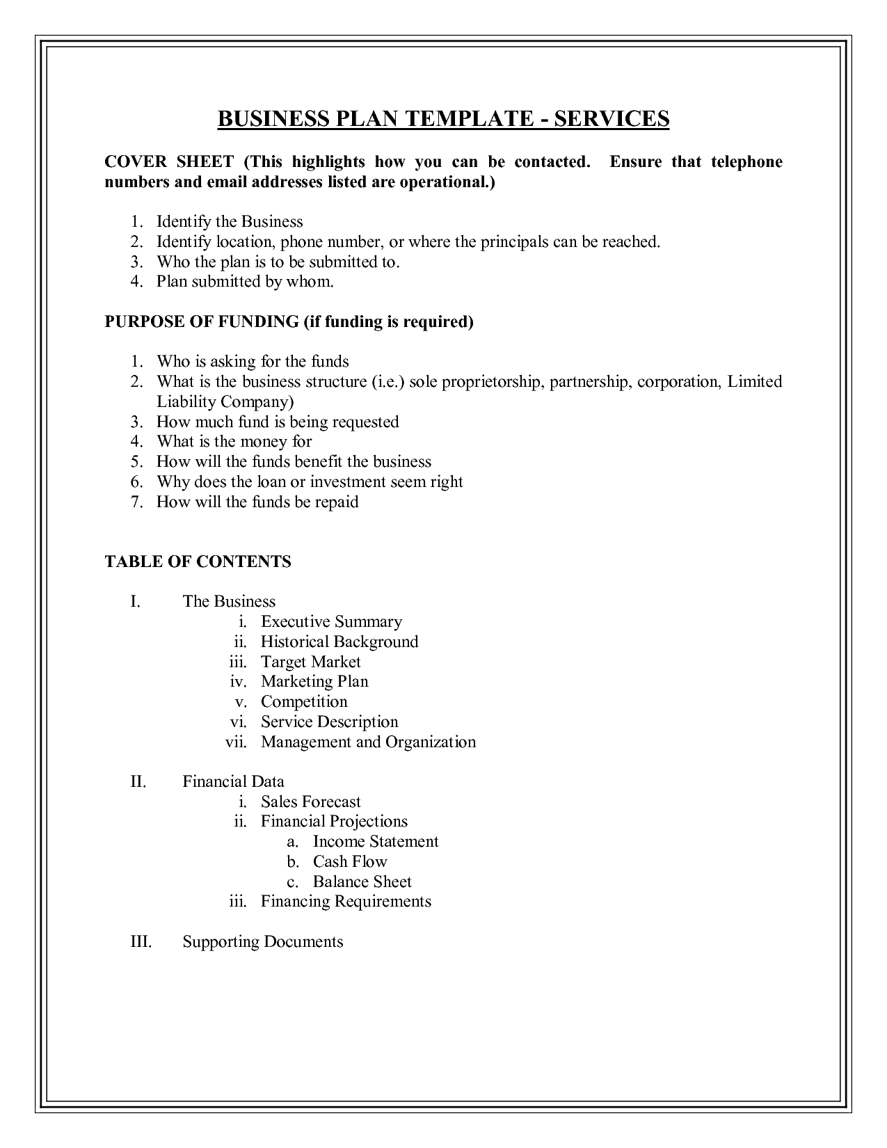 Doc business plan outline template accmission