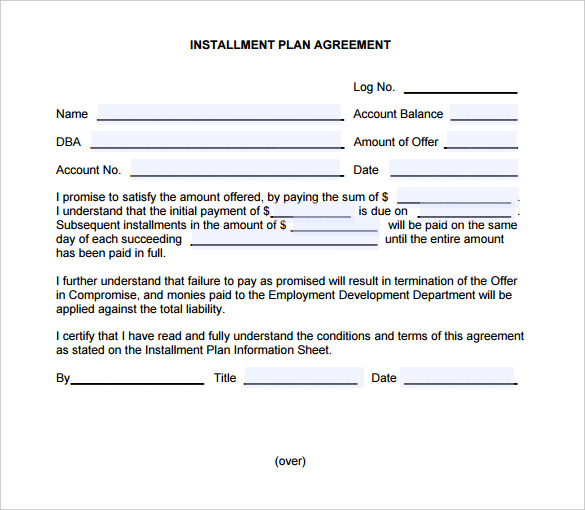 Installment Payment Plan Agreement Template Pdf Format