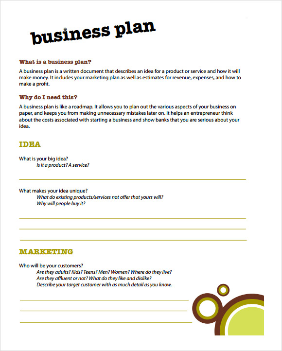 Simple business plan template for kids saigontimesfo
