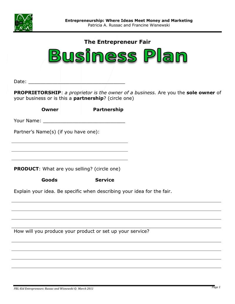 Business plan worksheets pdf