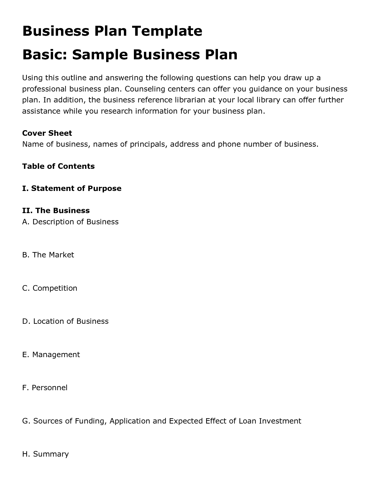 Sample Business Plan Template Samples