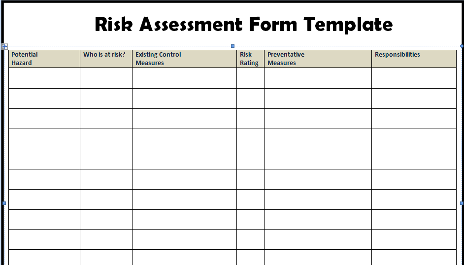 Risk Assessment Templates Example – Free Risk Assessment Template