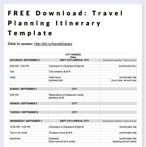 Itinerary Sample Doc  Blank Calendars